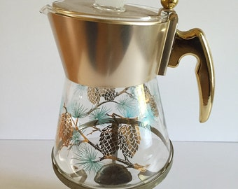 TURQUOISE COFFEE POT Carafe  with Pinecone Design Complete with Warmer, Mid Century Modern, Retro, 1960s at Modern Logic