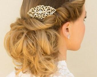"Vintage Rhinestone Comb, Vintage Hair Comb, Bridal Hair Comb, Small Gold Hair Comb, Gold Vintage Comb, Vintage Headpiece ~ ""Rachel"" Gold"