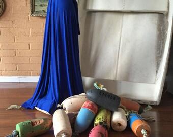Fisherman's Cobalt Blue- Silky Satin Jersey- Octopus Convertible Infinity Wrap Dress