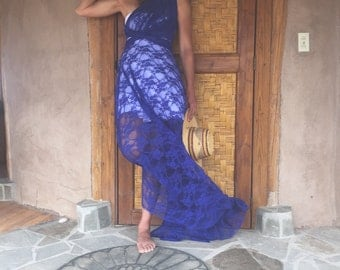 Sea Gypsy Sapphire Blue Full Lace with short slip Octopus Infinity Wrap Dress~Custom Choose Color~ Cocktail, Prom, R