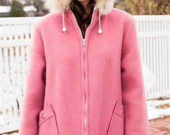Hudson Bay Pink Wool Jacket with White Hood Canada 1960s - Lodge- Ranch- Mountain Home - One of a Kind