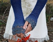 Long Fingerless Gloves, Arm Warmers, Hand Knit Gloves, Crochet Gloves, Womens Knitted Mittens, Wrist Warmers, Blue Knit Gloves, DRAGONFLY