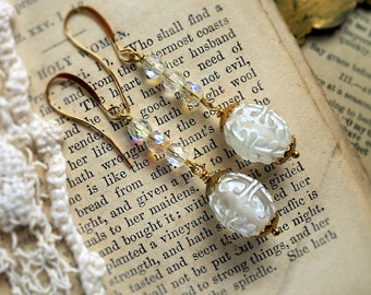 Crystal Scroll, Vintage White Etched Frosted Lucite and Crystal Glass Bead Dangle Earrings by Hollywood Hillbilly