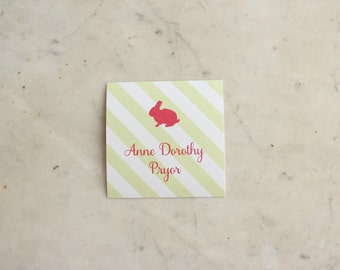 personalized children's gift stickers - bunny (girl or sisters, pink & green)