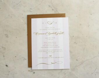 bridal luncheon, bridesmaids' luncheon OR wedding shower invitation - lavender / gold monogram & stripes