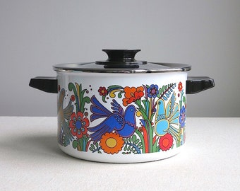 Vintage Villeroy and Boch Acapulco Casserole Pot - Cookware Cooking Pan - Tropical Bird and Flowers - Mid Century Modern - Designed 1967