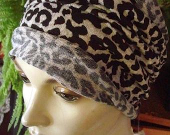 womens Headband extra Wide Soft Headband grey leopard print Comfortable Yoga turband Alopecia soft med  knit