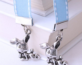 Ribbon Bookmark - Sleepy Bunny Rabbits, Pastel Blue Ribbon, White Stitching, Kawaii Cute Charm, Choice of Lengths
