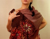 Brown Pashmina Shawl, Red Flower Pashmina Wrap, Unique Wool Pashmina Scarf, Hand Embroidery Wool Woven Shawl, Long Cowl Scarf, Women Gift