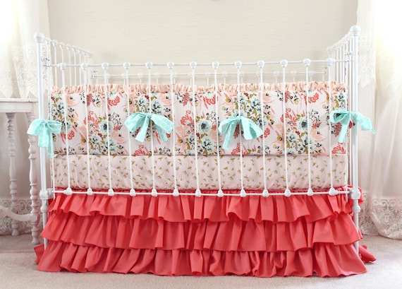 Light Pink And Gold Bedding: Blush Pink And Coral Crib Bedding Girl Pink Gold Nursery