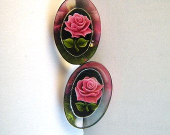 Lucite Embedded Rose Oval Earrings - Pink Black Green Clear - Screwback