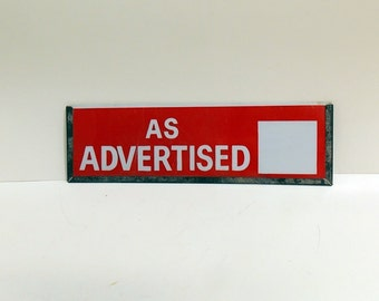 Vintage Store Signage / As Advertised / Pricing / Metal Sign Holder / Store Display/ Dry Erase Sign/ Dept Store / Grocery Store