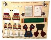 Christmas Fabric Panel, Concord's Holiday On Ice Polar Bear Doll, Cut and Sew, Polar Bear Fabric, DIY Holiday Project, Christmas Polar Bear