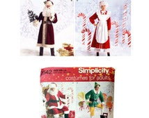Simplicity 2542, Christmas Costume Pattern, Santa Clause Pattern, Father Christmas Pattern, Elf Pattern, Mrs. Clause Pattern, Adult Costumes