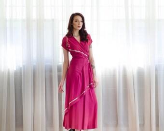 1940s Evening Dress - 40s Gown - Mixed Berry Evening Dress