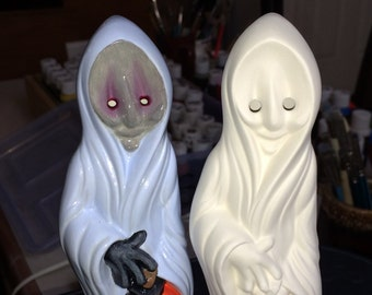 Halloween Scary Ghost Dude Holding a Pumpkin Ready to Paint Poured from a Ceramic Mold by CrazyOldLadyJC
