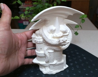 IMD Small Master of The Castle, Dragon Ready to Paint Ceramics Poured by CrazyOldLadyJC