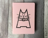 Handmade blank pale pink notebook featuring Dave the cat - hand-printed, stitched and trimmed A6 cat journal in rose quartz