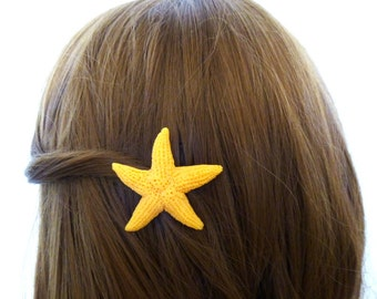 Fake Starfish Barrette Girls Hair Clip Faux Artificial Animal Friendly Nautical Ariel Mermaid Costume Destination Beach Wedding Accessories