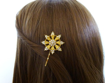 Gold Snowflake Hair Clip Snow Flake Bobby Pin Bridal Bridesmaid Holidays Christmas Weddings Winter Accessories Unique Womens Gift For Her