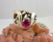 Vintage Modernist Brutalist Chunky Ruby Sterling Silver Ring