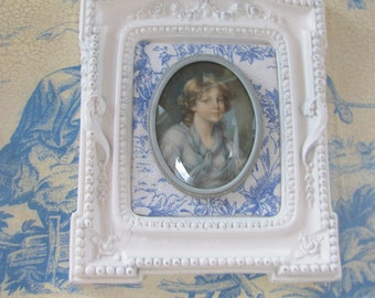 Vintage Ornate Chalkware Frame With Toile and Girl Portrait