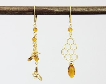 Home is Where the Honey Is - Charming Bee Honeycomb Swarovski Crystal Asymmetrical Earrings Flying Honey Bees Dangle Gold