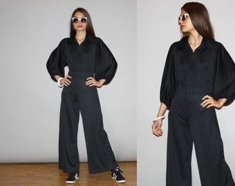 Vintage 1970s Black Palazzo Disco Boho Jumpsuit with Bell Bottom Pants and Dolman Sleeve - Vintage 70s  Jumpsuit - WD0844