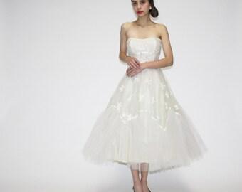 1950s Wedding Dress  - Vintage Lace Wedding Dress - 50s Wedding Dress  - Vintage Prom Dress  - WD0550