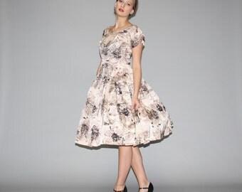 Vintage 1950s Graphic Floral  Party Dress  - Vintage  50s Party Dress - Vintage 50s Prom Dresses  - WD0661