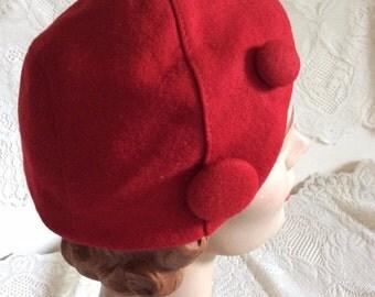 Vintage 1940s Hat Red Wool Velour Headband Bonnet Style
