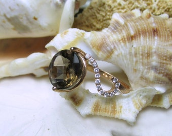 14k Smoky Quartz and Diamond Ring Rose Gold 2.30g Size 6.5