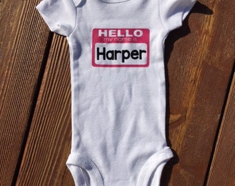Hello my name is, baby shirt, new baby, hospital announcement, funny baby shirt, birth announcement, take home outfit, newborn, baby gift