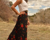 Vintage 90s Rose Flower Maxi Skirt Hippie Skirt Black and Red Boho Chic GRUNGE ON HOLD