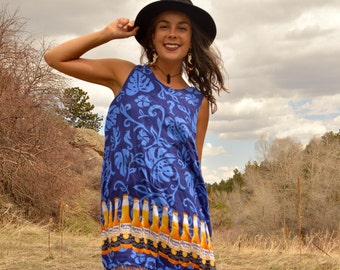 Vintage Corona Beer Novelty Tank Dress with Fringe and Tropical Print