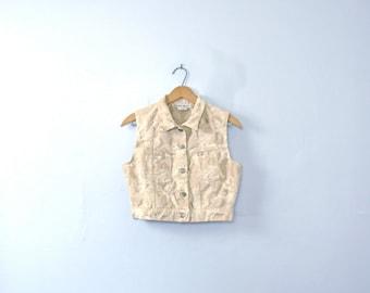 Vintage 90's gold angelic cropped vest, cherubim denim vest, size small / xs