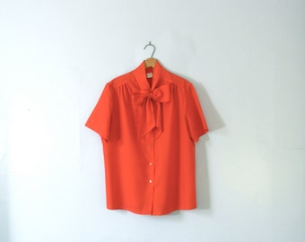 Vintage 60's red blouse with bow tie, short sleeved, size large / xl