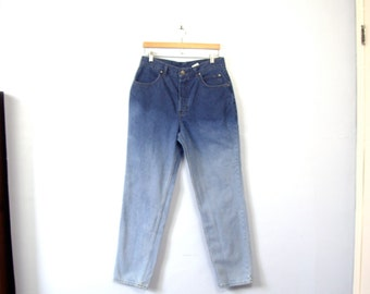 Vintage 80's high waisted ombre Harley Davidson jeans, tapered leg, button fly, size 12