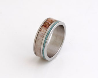 antler wedding band mens wedding ring antler ring turquoise man ring titanium ring