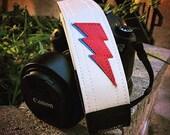 David Bowie Camera Strap, Aladdin Sane Bolts Hand Made in USA
