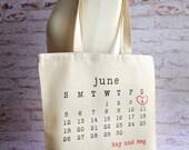 Wedding Tote Bag, personalized tote, bridal tote, wedding date, typewriter
