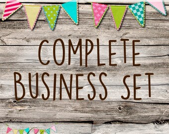 Custom Complete Business Set - OOAK Etsy Shop Banner - Business Cards - Avatars - Custom Made Set - Custom Made Packaging