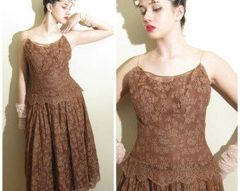 Vintage 1950s Brown Lace Party Dress / 50s Evening Dress with Spaghetti Straps / Small
