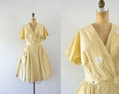 1950s Morning Sunrise cotton daisies dress / 50s floral beauty