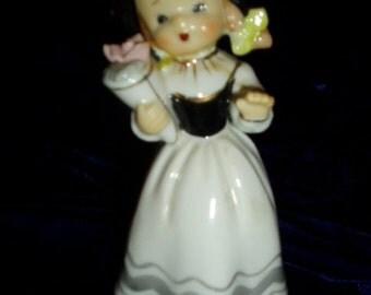Vintage Lefton Napco Pigtail Girl Bonnet Bouquet Figurine Figure