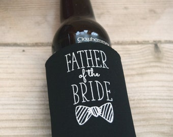 Father of the Bride, Father of the Groom Can Coolie Gifts, Custom Beer Hugger, Wedding Gifts, Wedding Coolies, Father's Day Gifts for Dad