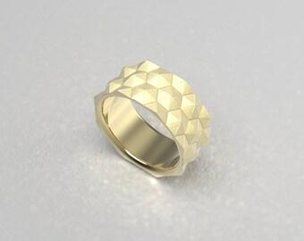 Contemporary Hexagon Band Ring in Gold  Silver Platinum or Palladium