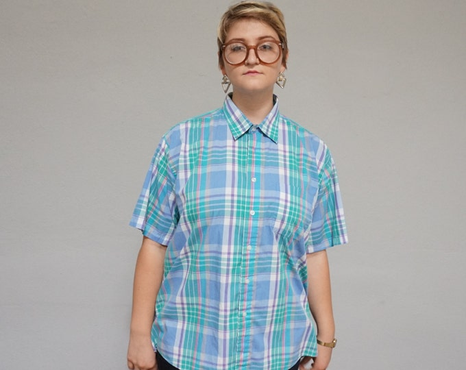 plus size plaid short sleeve vintage 90s 1990s unisex men short sleeve pastel aqua turquoise button up extra large XL XXL hipster indie club