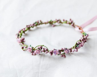 berry purple rose & berry flower crown // bridal wedding flower crown headband rustic forest garden spring woodland headpiece