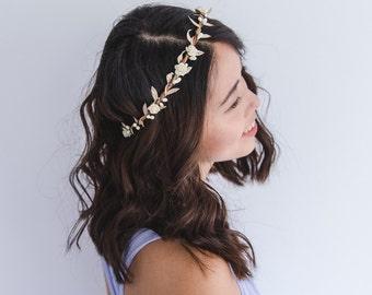 creamy ivory gold flower hair wreath // bridal wedding flower crown headband rustic forest garden spring woodland headpiece